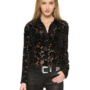 Equipment Daddy Velvet Burnout Blouse Floral Large